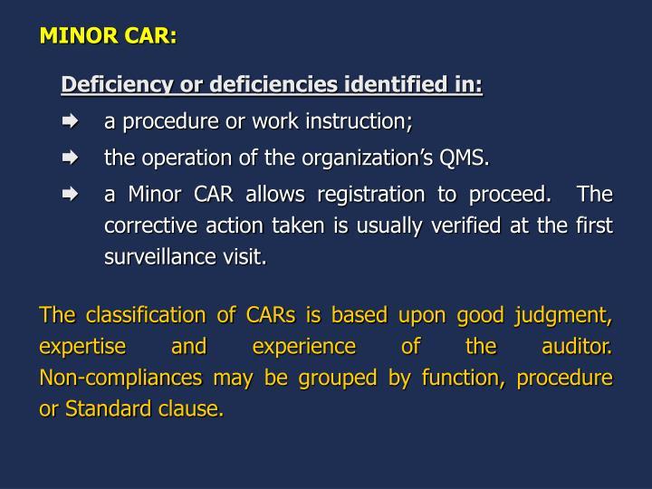 MINOR CAR: