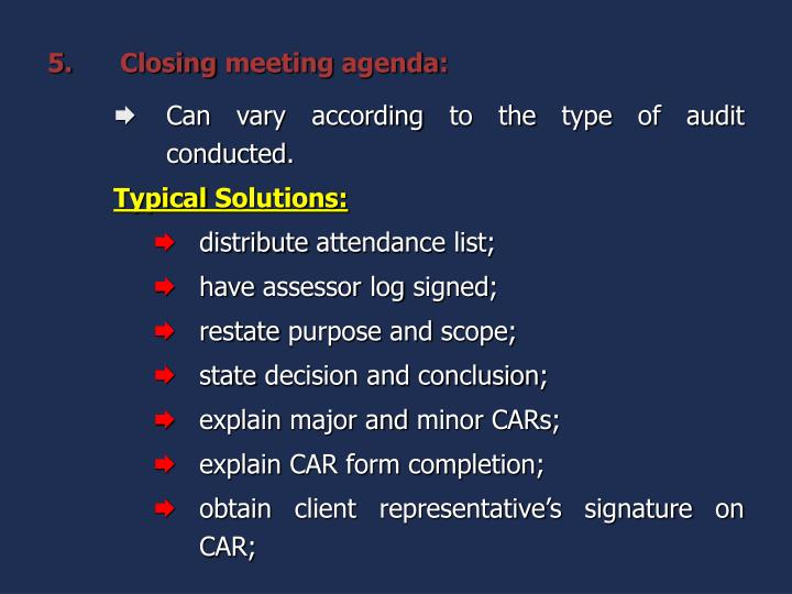 Closing meeting agenda: