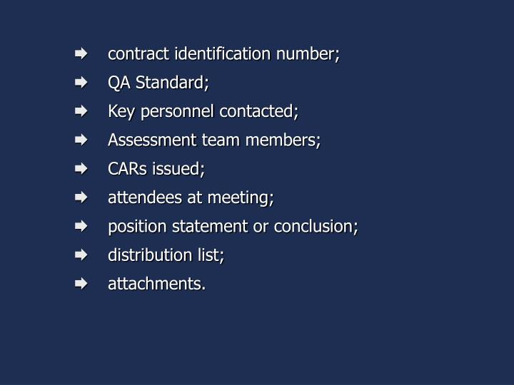 contract identification number;