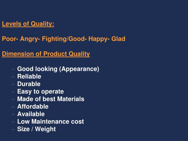 Levels of Quality: