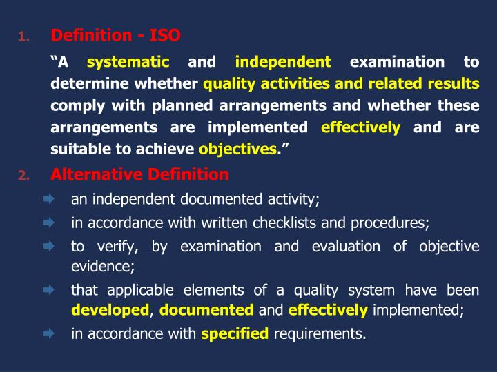 Definition - ISO
