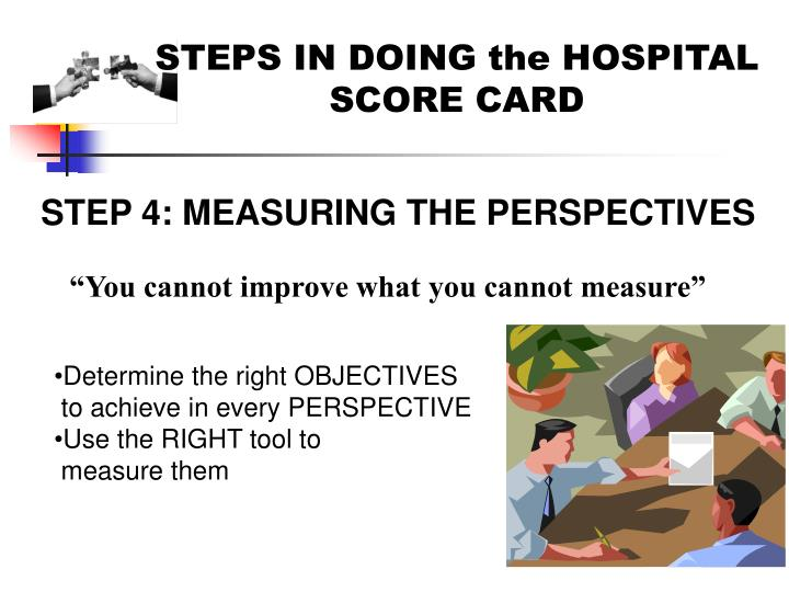 STEPS IN DOING the HOSPITAL SCORE CARD
