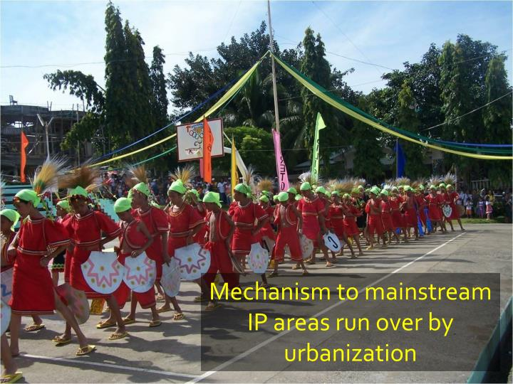 Mechanism to mainstream IP areas run over by urbanization