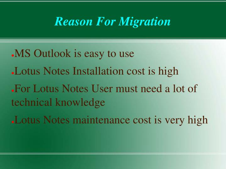 Reason for migration