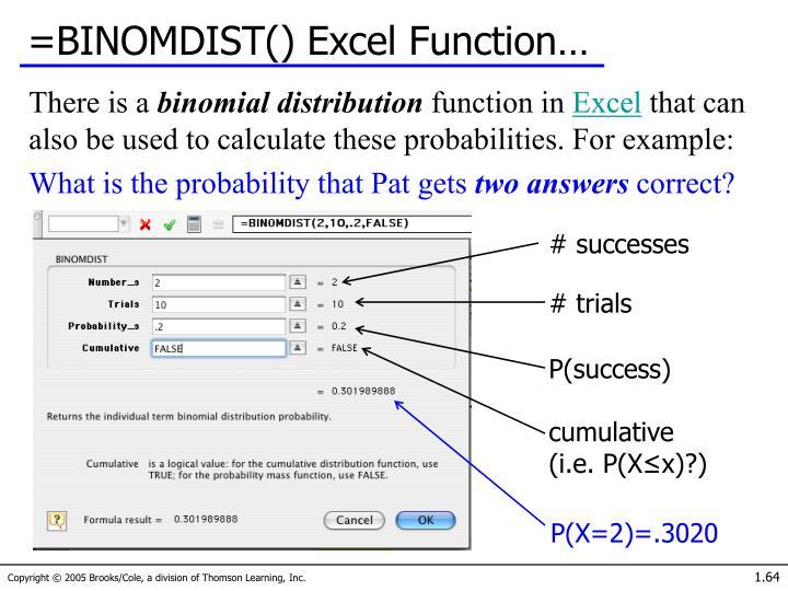 =BINOMDIST() Excel Function…