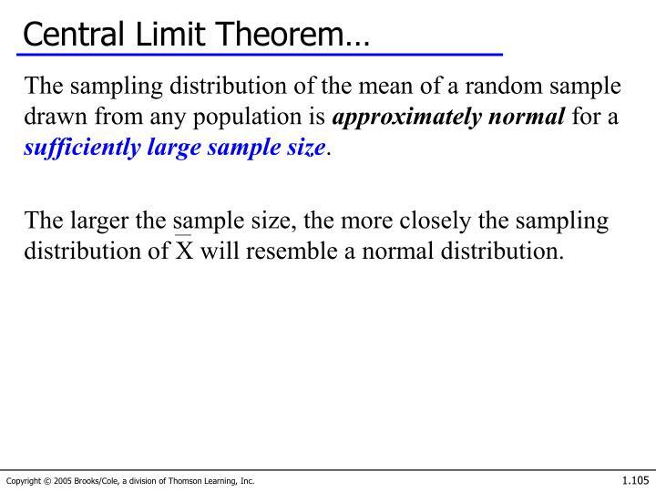 Central Limit Theorem…
