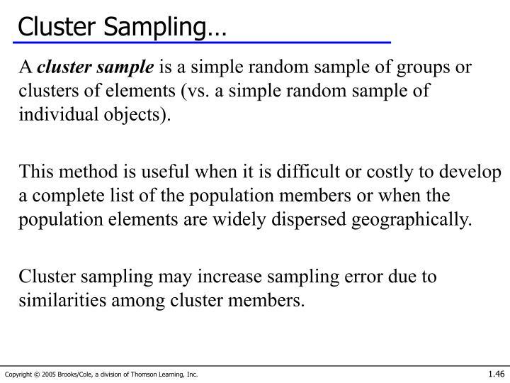 Cluster Sampling…