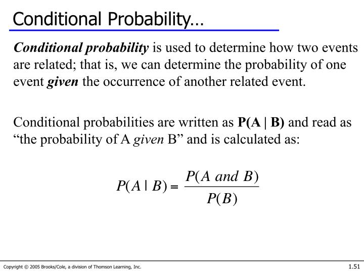 Conditional Probability…