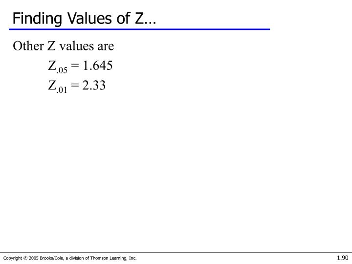 Finding Values of Z…