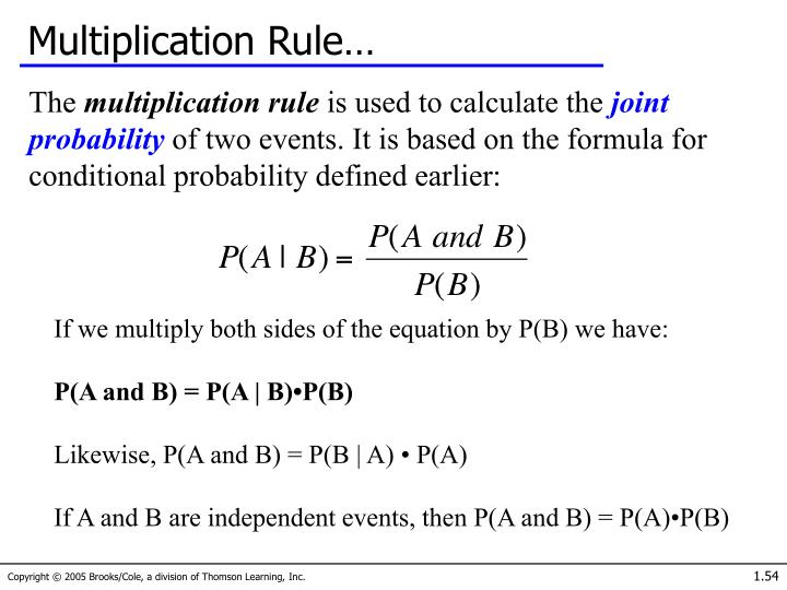Multiplication Rule…