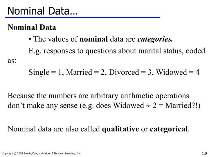 Nominal Data…
