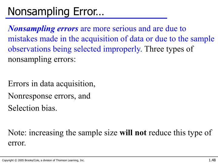 Nonsampling Error…