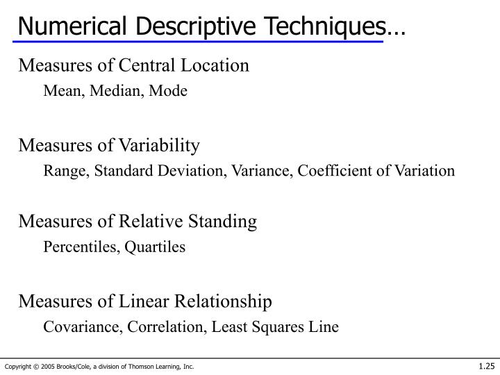 Numerical Descriptive Techniques…