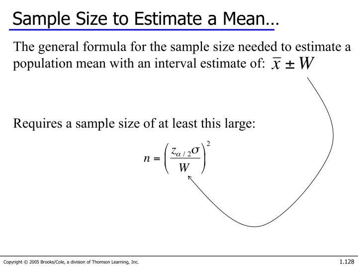 Sample Size to Estimate a Mean…