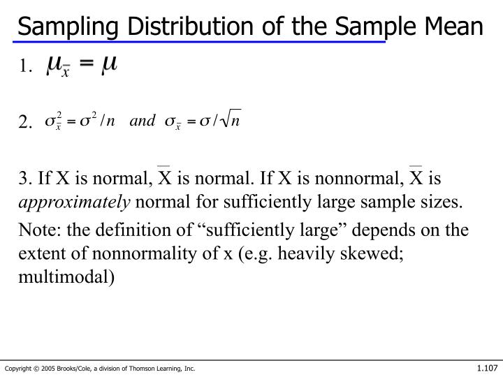 Sampling Distribution of the Sample Mean