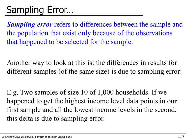 Sampling Error…