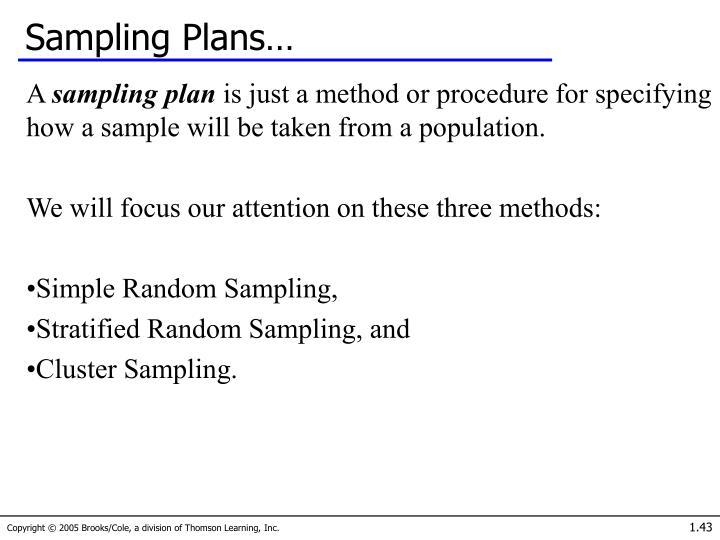 Sampling Plans…