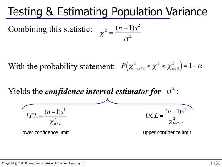Testing & Estimating Population Variance