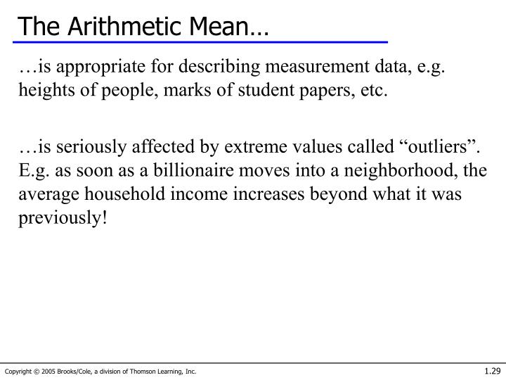 The Arithmetic Mean…
