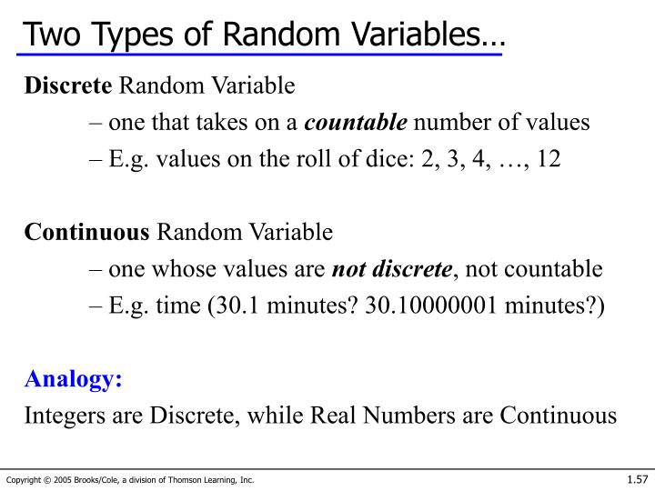 Two Types of Random Variables…