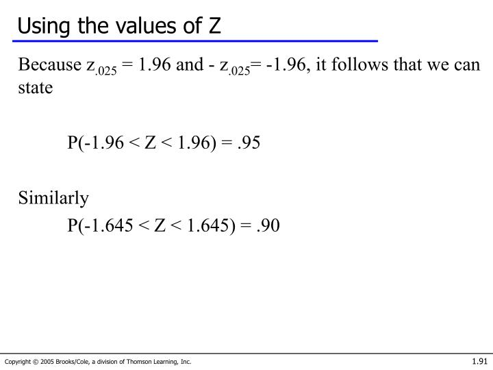 Using the values of Z