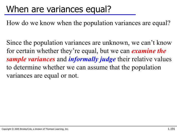 When are variances equal?