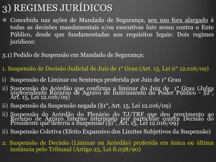 3) REGIMES JURDICOS