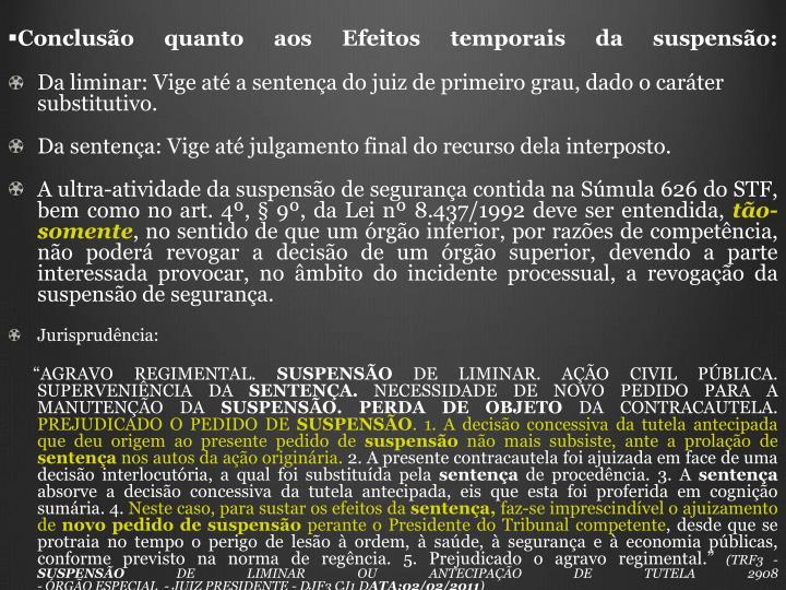 Concluso quanto aos Efeitos temporais da suspenso: