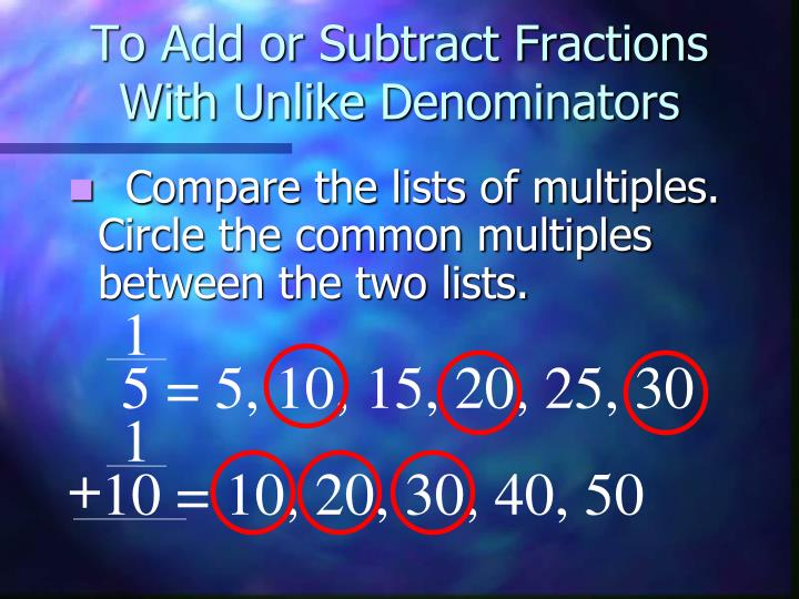To Add or Subtract Fractions With Unlike Denominators