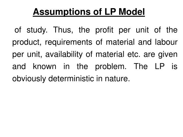 Assumptions of LP Model