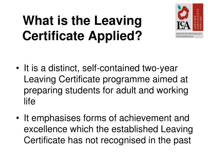 What is the Leaving Certificate Applied?