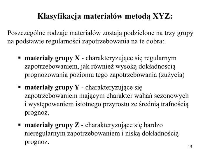 Klasyfikacja materiaw metod XYZ