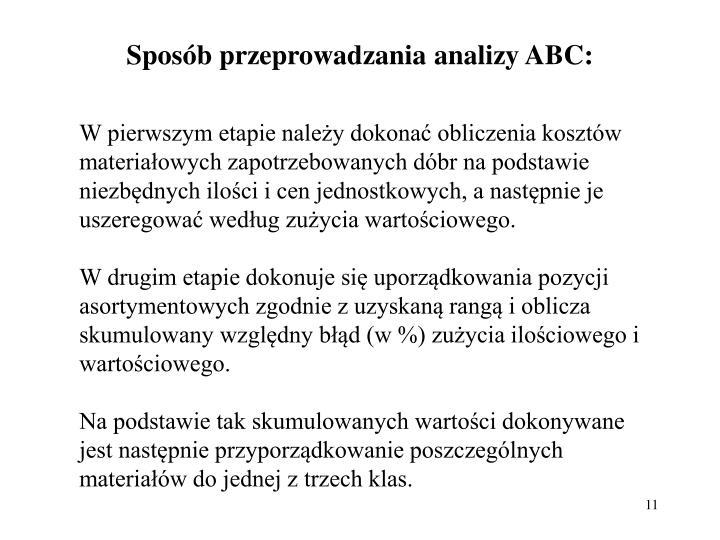 Sposb przeprowadzania analizy ABC