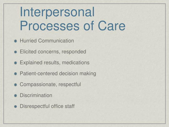 Interpersonal Processes of Care