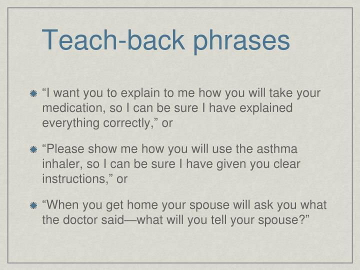 Teach-back phrases