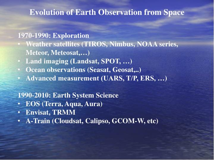 Evolution of earth observation from space