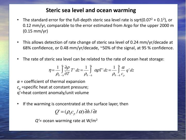 Steric sea level and ocean warming