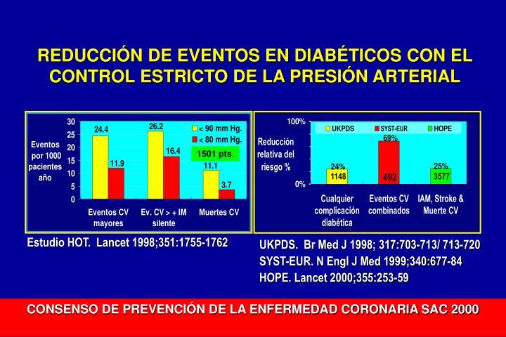 REDUCCIÓN DE EVENTOS EN DIABÉTICOS CON EL CONTROL ESTRICTO DE LA PRESIÓN ARTERIAL