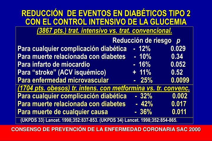 REDUCCIÓN  DE EVENTOS EN DIABÉTICOS TIPO 2