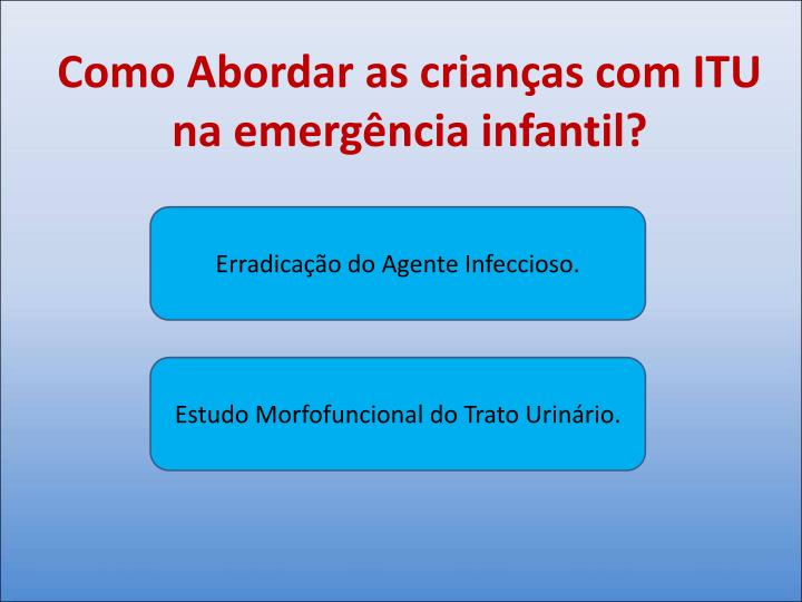 Como Abordar as crianças com ITU na emergência infantil?