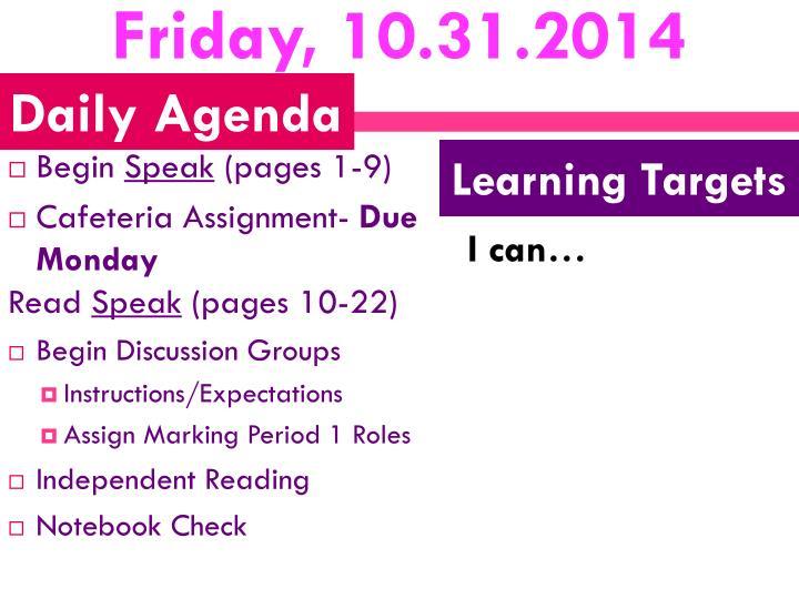Friday, 10.31.2014