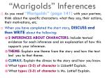 marigolds inferences