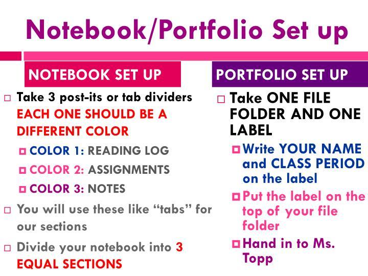 Notebook/Portfolio Set up