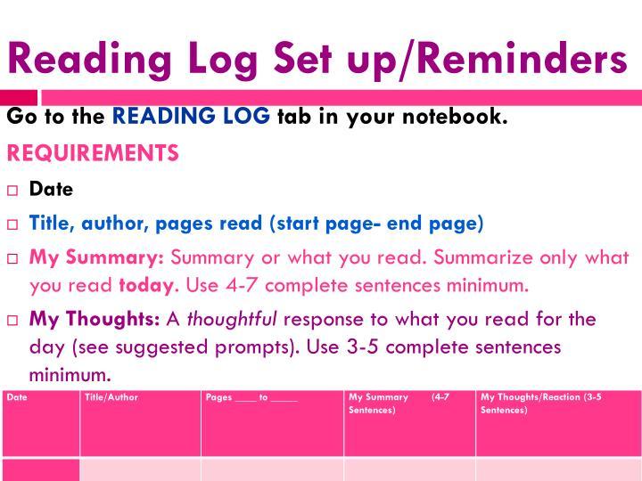 Reading Log Set up/Reminders