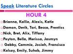 speak literature circles