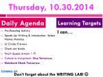 thursday 10 30 2014