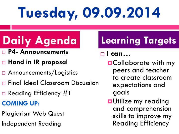 Tuesday, 09.09.2014