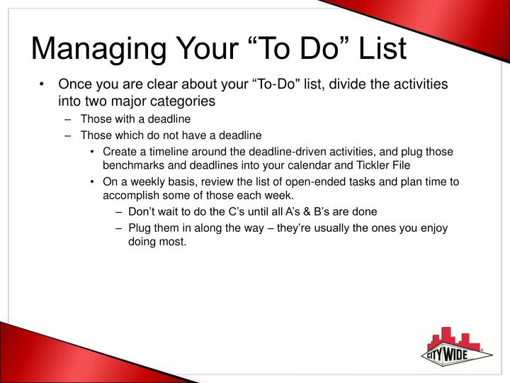 "Managing Your ""To Do"" List"