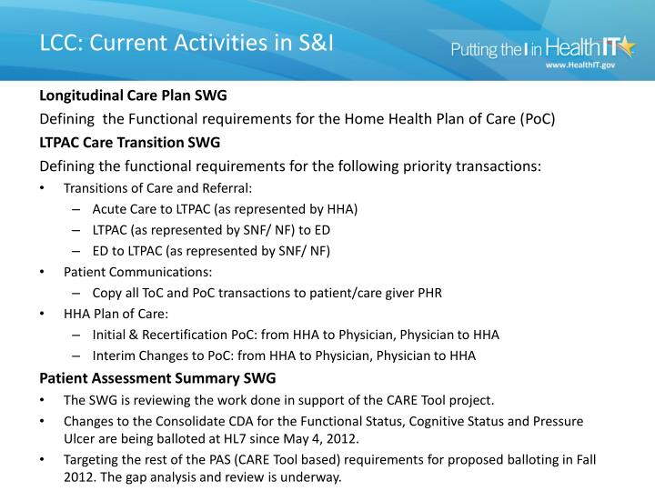 LCC: Current Activities in S&I