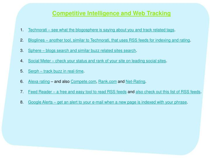 Competitive Intelligence and Web Tracking